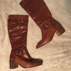 Coach Saxton Riding Boot Brown Leather Gold Buckle